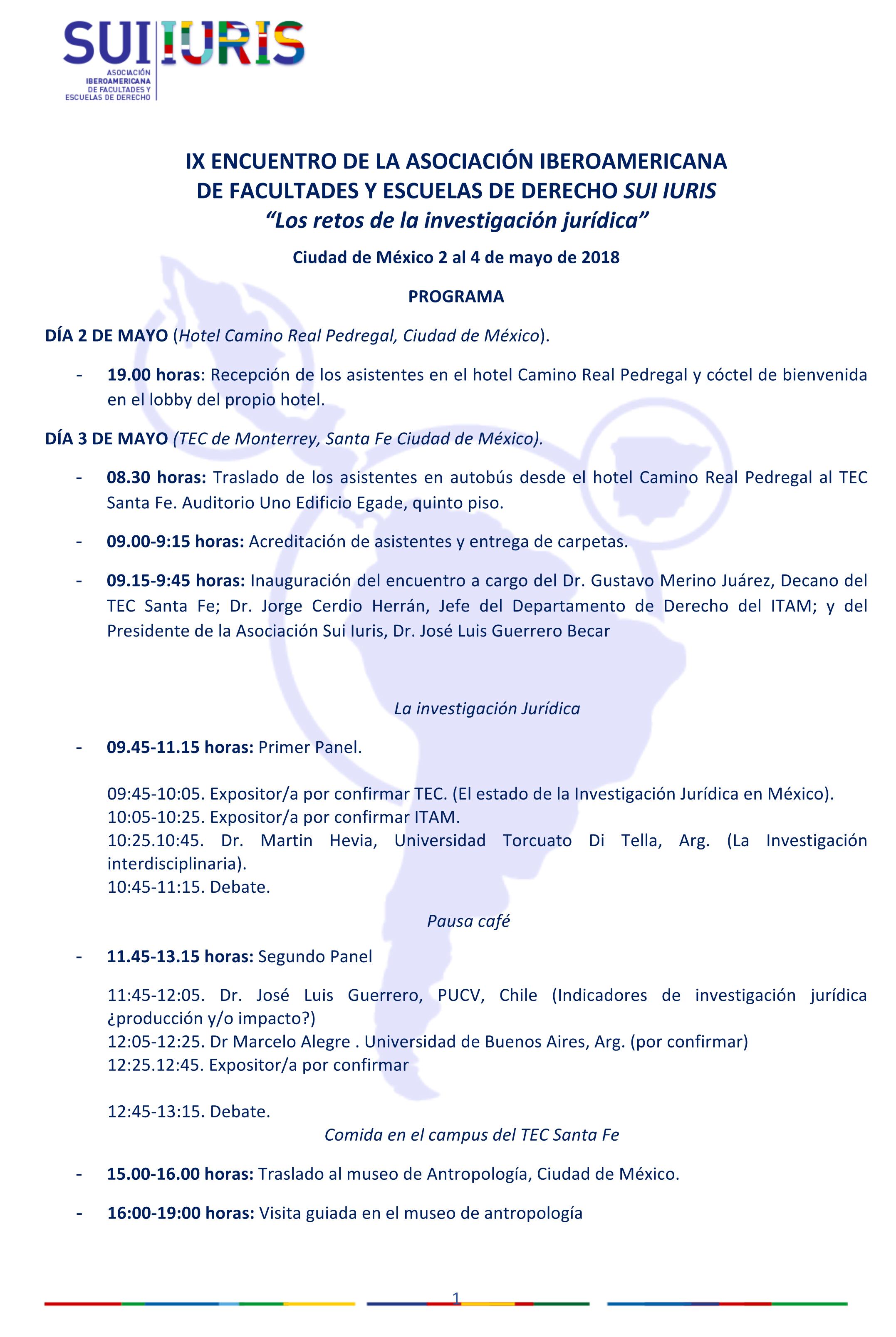 Programa Sui Iuris Mexico 2018
